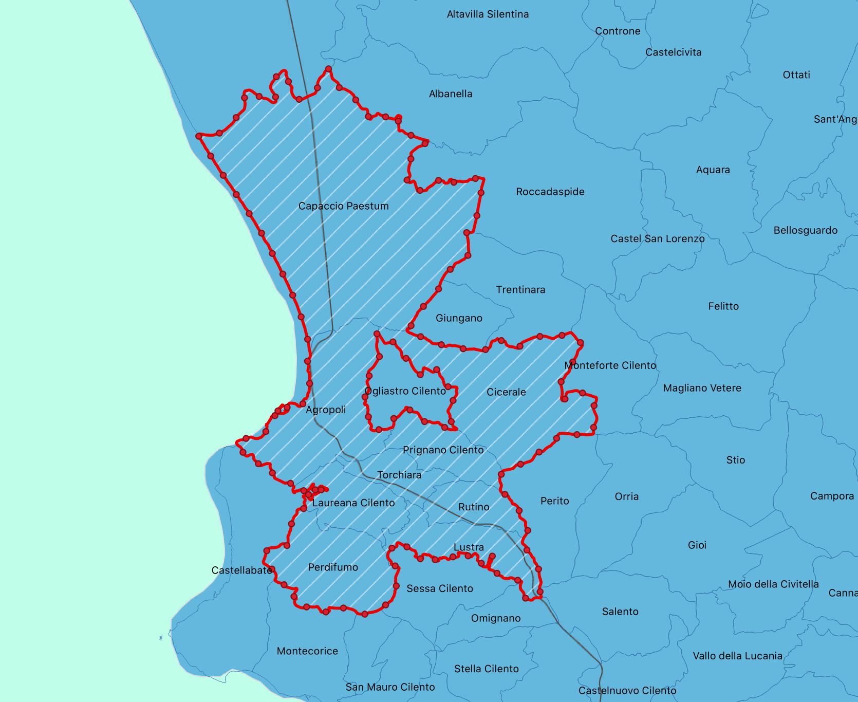 Territorio dell'Unione dei Comuni Alto Cilento
